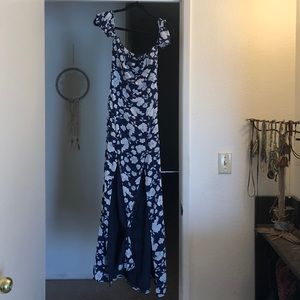 Off the shoulder blue floral dress